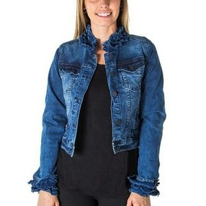 Jackets & Blazers - Cropped ruffled denim jeans jacket